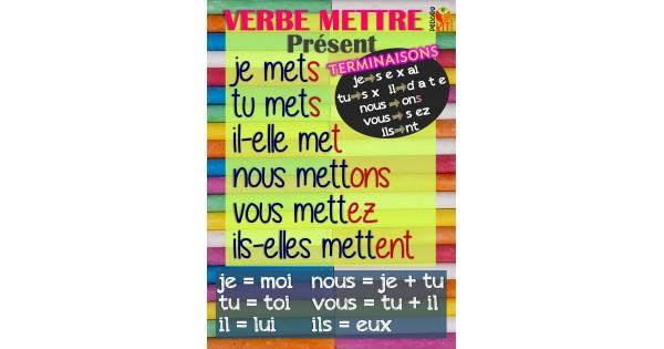 Francais Poster Verbe Mettre Present