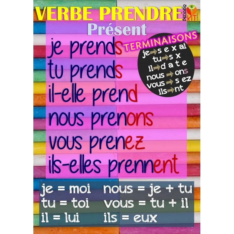 Francais Poster Verbe Prendre Present