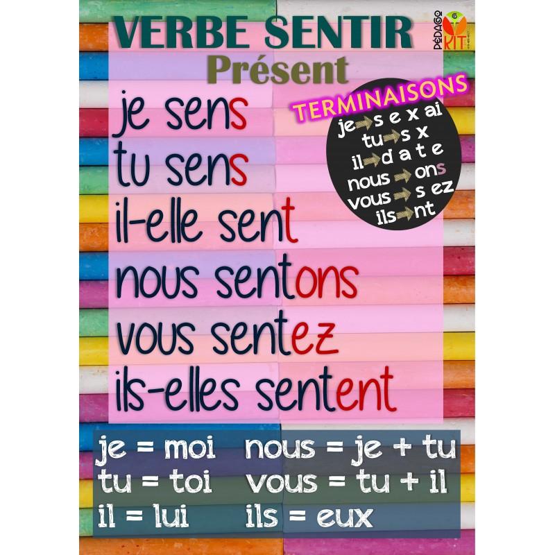 Francais Poster Verbe Sentir Present