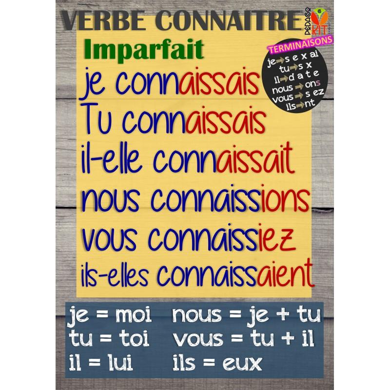 Francais Poster Verbe Connaitre Imparfait