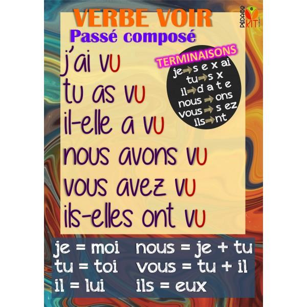 Français poster verbe voir passé composé
