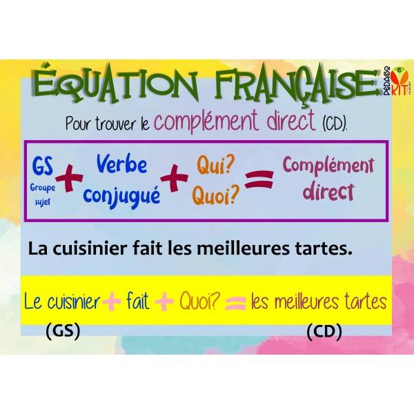 Équation française, poster complément direct.