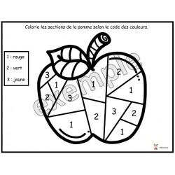 Colorie les sections de la pomme