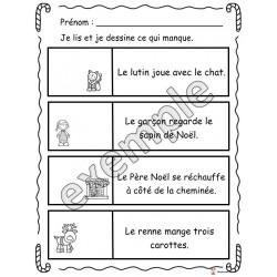 Noël: lis et dessine ce qui manque