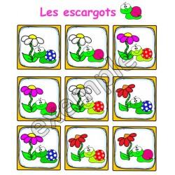 Jeu pour tout-petits: les escargots