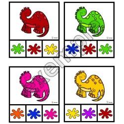 Couleurs: cartes à pinces (dinosaures)
