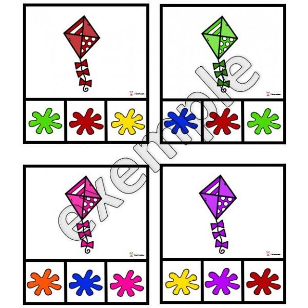 Couleurs: cartes à pinces (cerfs-volants)