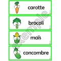 Légumes: mots-étiquettes