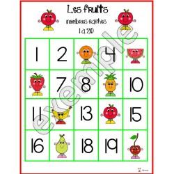 Fruits: nombres cachés (1 à 20)
