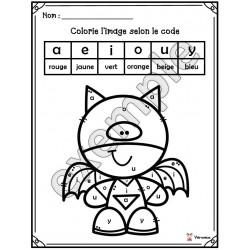 Colorie selon le code: les voyelles