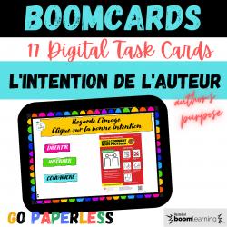 Intention Auteur BOOM CARDS Google Classroom