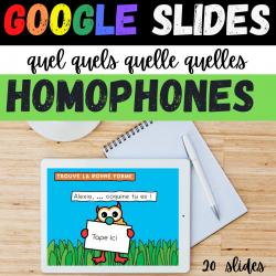Bundle GOOGLE SLIDES Homophones QUEL ... QU'ELLES