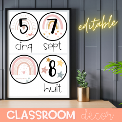 Classroom Decor Editable Numbers Posters