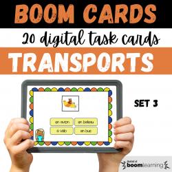 BOOM CARDS Les Transports Set 3 Reading
