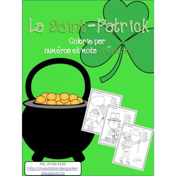 La Saint-Patrick - Colour by Number/Sight Words