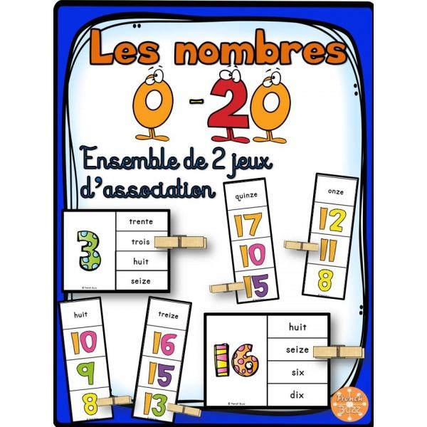 Les nombres - 0-20 - Ensemble 2 jeux d'association