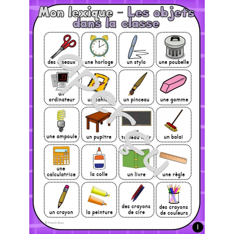 les objets dans la classe vocabulaire lexique