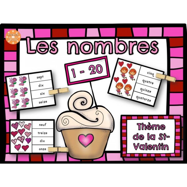 Nombres - 1-20 - Jeu d'association (St-Valentin)