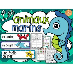 Animaux marins - mur de mots et lexique (32 mots)