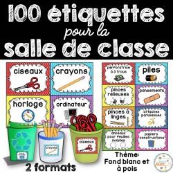 100 étiquettes pour la classe - à pois