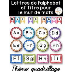 Mur de mots et lettres de l'alphabet - quadrillage
