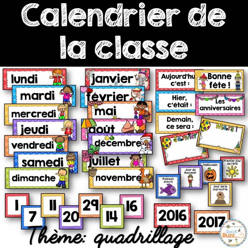 Calendrier Pour La Classe.Calendrier De La Classe Etiquettes Quadrillage