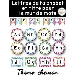 Mur de mots et alphabet - étiquettes - chevron