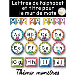 Mur de mots et lettres de l'alphabet - Monstres