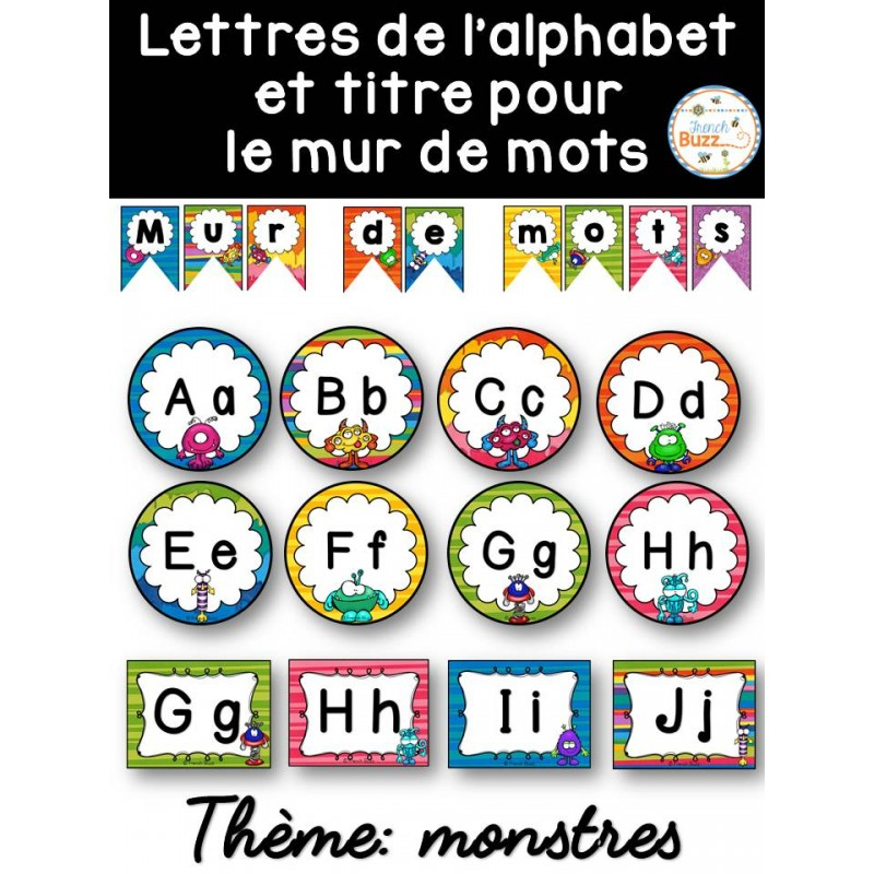 mur de mots et lettres de l 39 alphabet monstres. Black Bedroom Furniture Sets. Home Design Ideas