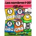 Nombres 1-20 - Affiches - Thème: monstres