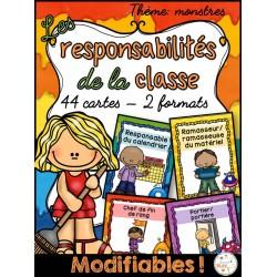 Responsabilités dans la classe - Thème: monstres