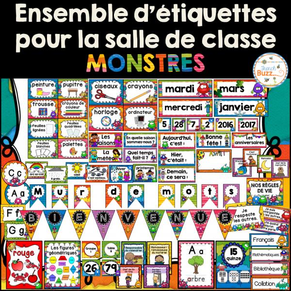 Ensemble d'étiquettes pour la classe - Monstres