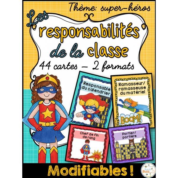 Responsabilités dans la classe - super-héros