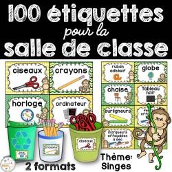 100 étiquettes pour la classe - Singes