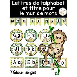 Mur de mots et lettres de l'alphabet - Singes