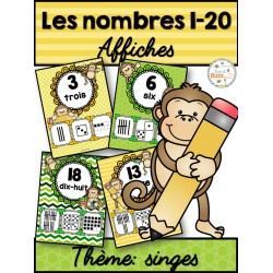 Nombres 1-20 - Affiches - Thème: singes
