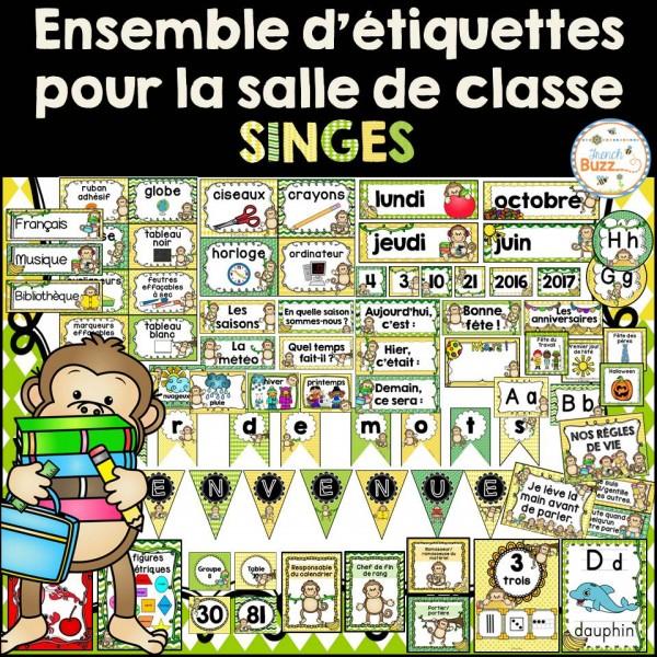 Ensemble d'étiquettes pour la classe- Singes