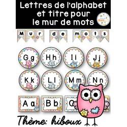 Mur de mots et lettres de l'alphabet - hiboux