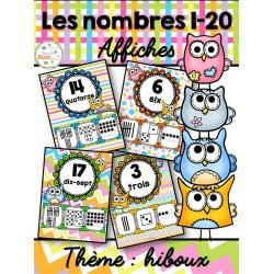Nombres 1-20 - Affiches - Thème: hiboux