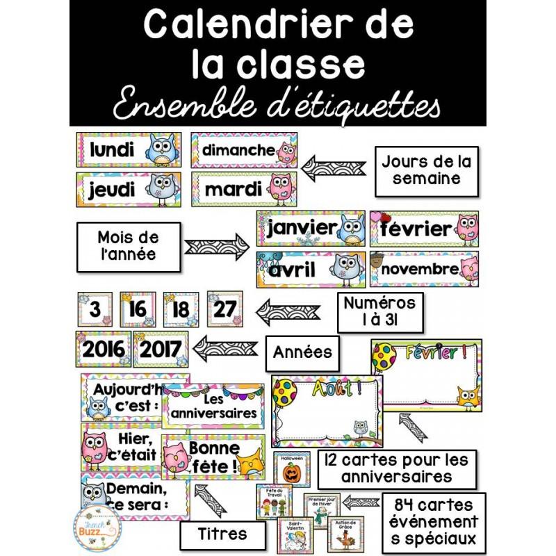 Calendrier Pour La Classe.Calendrier De La Classe Etiquettes Hiboux