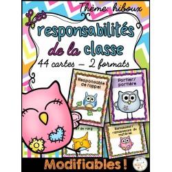 Responsabilités dans la classe - Thème: hiboux