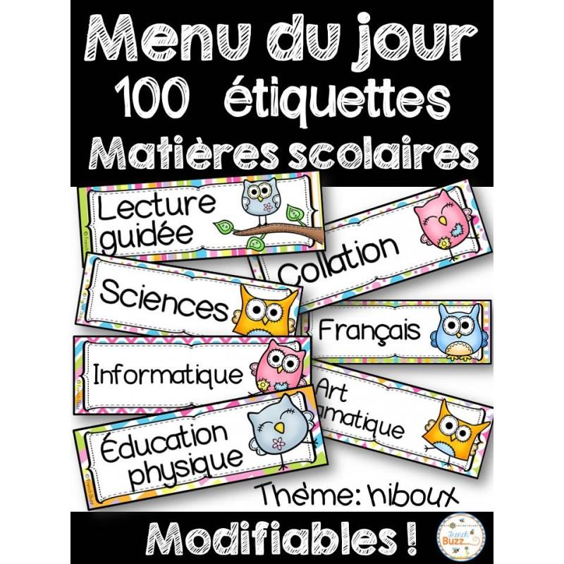 Préférence Menu du jour - Horaire - Matières - Hiboux JQ68