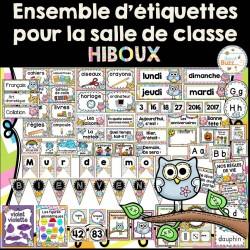 Ensemble d'étiquettes pour la classe- Hiboux