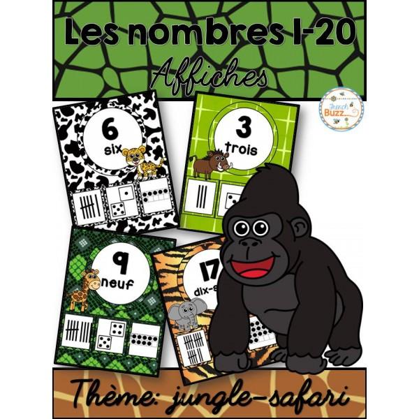 Nombres 1-20 - Affiches - Thème: jungle-safari