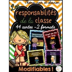Responsabilités dans la classe - noir et chevron