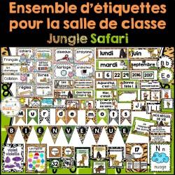 Ensemble d'étiquettes pour la classe-jungle safari