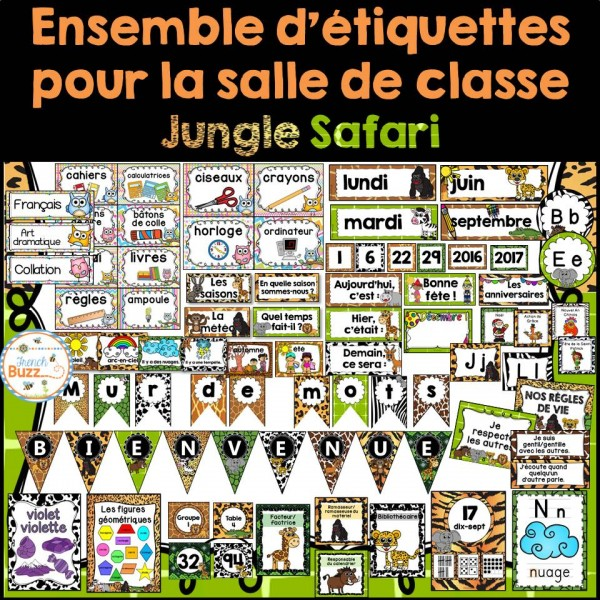 Ensemble d'étiquettes pour la classe-jungle safari