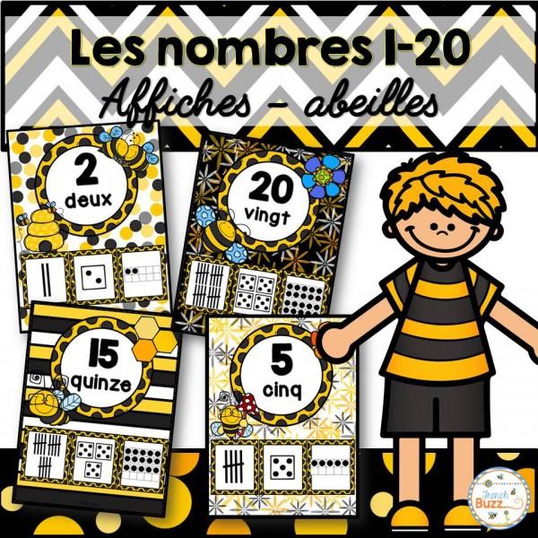 Nombres 1-20 - Affiches - Thème: abeilles