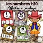 Nombres 1-20 - Affiches - Thème: cowboys
