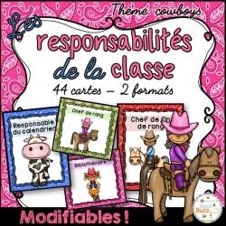 Responsabilités dans la classe - Thème: cowboys